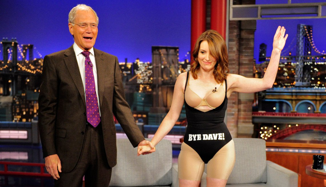 item 1, Gallery image. Tina Fey takes off her dress after her last appearance on the CBS Late Show with David Letterman, Thursday May 7, 2015.