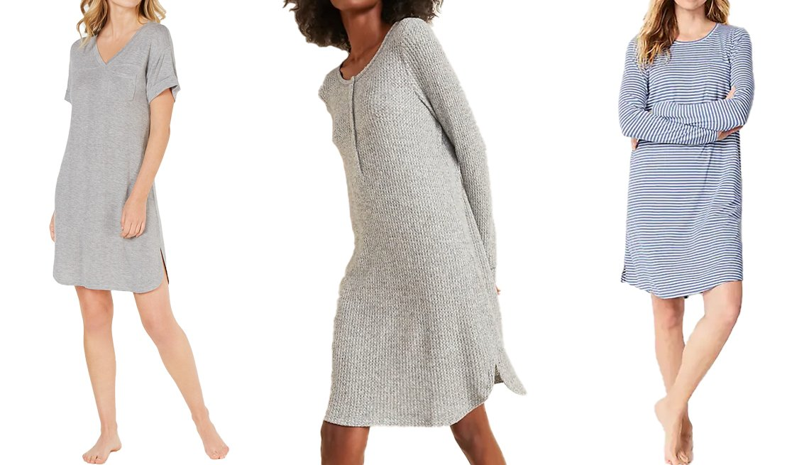 item 3, Gallery image. (Left to right) Alfani Ultra Soft Ribbed Knit Sleepshirt Nightgown in heather grey; Old Navy Cozy Thermal-Knit Henley Nightgown for Women in gray marl; J. Jill Sleep Ultrasoft Shirttail Gown in dusk blue/cream