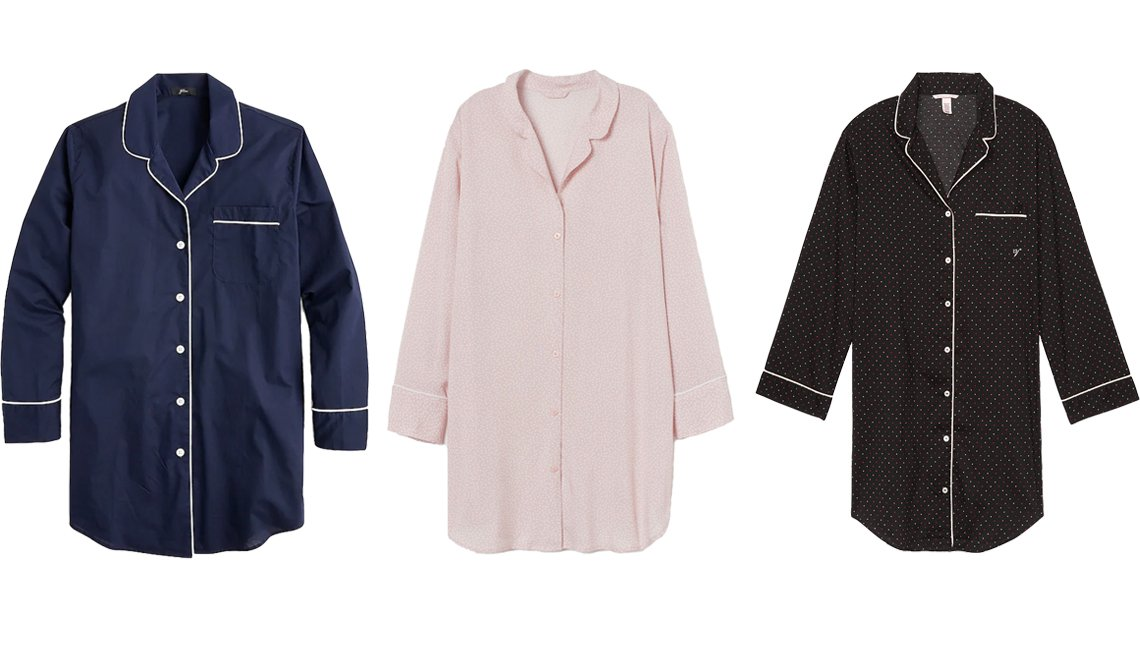 item 8, Gallery image. (Left to right) J.Crew Nightshirt in End-on-End Cotton in navy; H&M Patterned Nightshirt in powder pink/dotted; Victoria's Secret Cotton Piped Sleepshirt in black/orchid mini dot