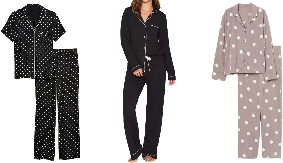 item 1 of Gallery image - Old Navy Jersey Pajama Set for Women in black dots; Stars Above Beautifully Soft Notch Collar Top and Pants Pajama Set in black; H&M Pajama Shirt and Pants in dusky pink/dotted