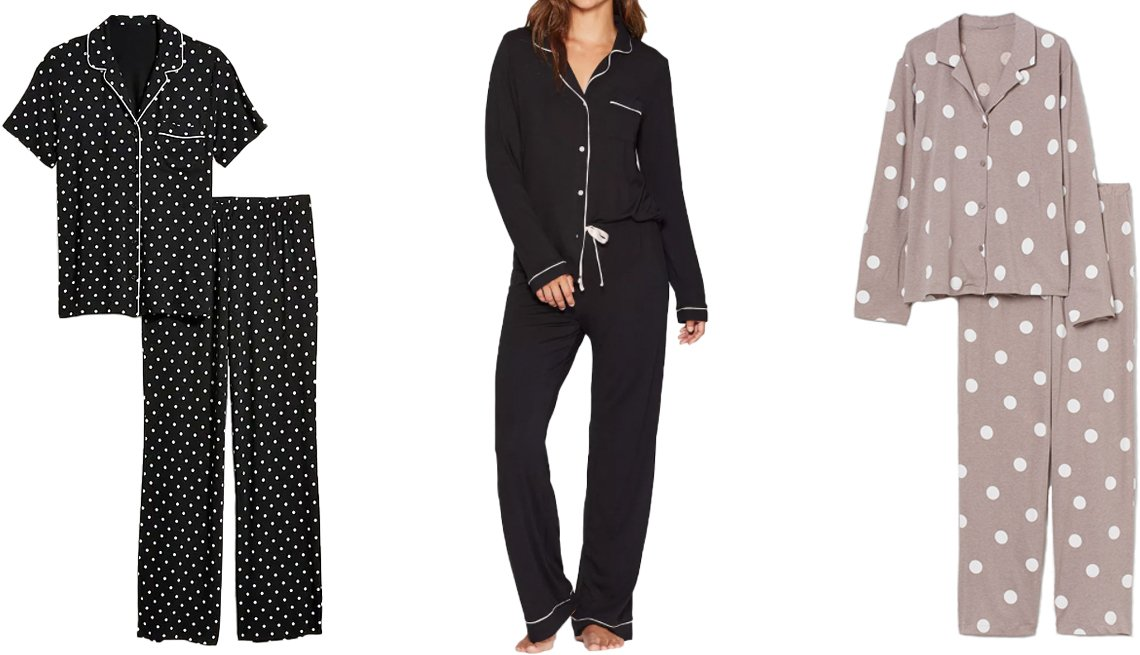 item 1, Gallery image. (Left to right) Old Navy Jersey Pajama Set for Women in black dots; Stars Above Beautifully Soft Notch Collar Top and Pants Pajama Set in black; H&M Pajama Shirt and Pants in dusky pink/dotted