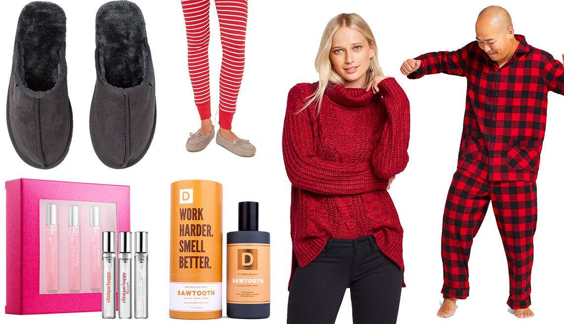 item 10 of Gallery image - H&M Pile-lined Slippers, Clinique A Little Happiness, Old Navy Faux-Suede Sherpa-Lined Moccasin Slippers, Duke Cannon Woodsy Men's Cologne, Universal Thread Women's Cowl-Neck Tunic Sweater, Men's Wondershop Plaid Flannel Pajama Set
