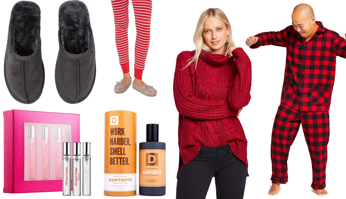 item 10, Gallery image. H&M Pile-lined Slippers, Clinique A Little Happiness, Old Navy Faux-Suede Sherpa-Lined Moccasin Slippers, Duke Cannon Woodsy Men's Cologne, Universal Thread Women's Cowl-Neck Tunic Sweater, Men's Wondershop Plaid Flannel Pajama Set