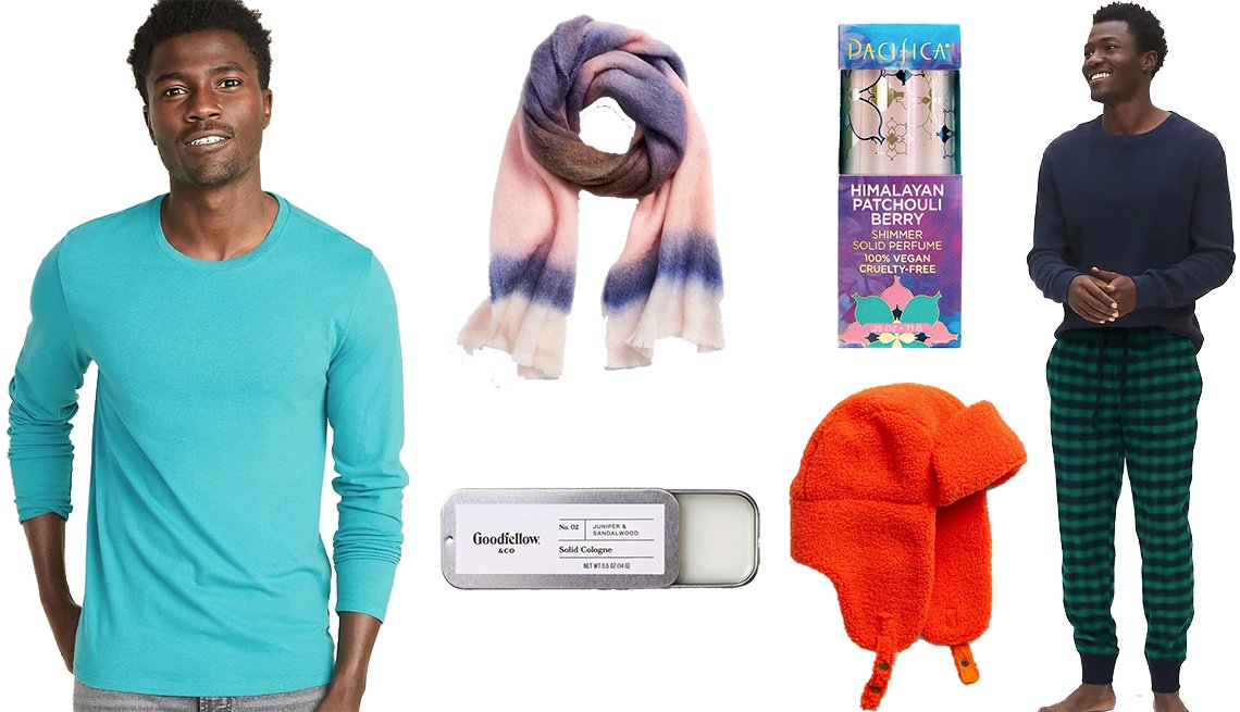 item 8, Gallery image. Old Navy Soft-Washed Crew-Neck Long-Sleeve, Gap Tie-Dye Brushed Scarf, Goodfellow & Co No. 2 Juniper & Sandalwood Men's Solid Cologne, Himalayan Patchouli Berry by Pacifica Shimmer Solid Perfume, Sherpa Trapper Hat, Gap Flannel Pajama Joggers