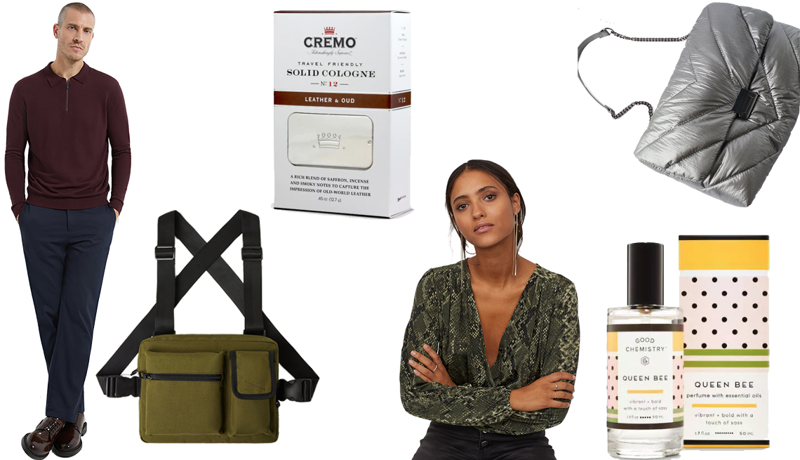 item 1 of Gallery image - Zara Polo Sweater with Zipper, Cremo Leather & Oud Men's Solid Cologne, Zara Quilted Maxi Crossbody Bag, Queen Bee by Good Chemistry Eau de Parfum, H&M Draped Wrapover Bodysuit, Zara Green Khaki Premium Cordura Body Pack,