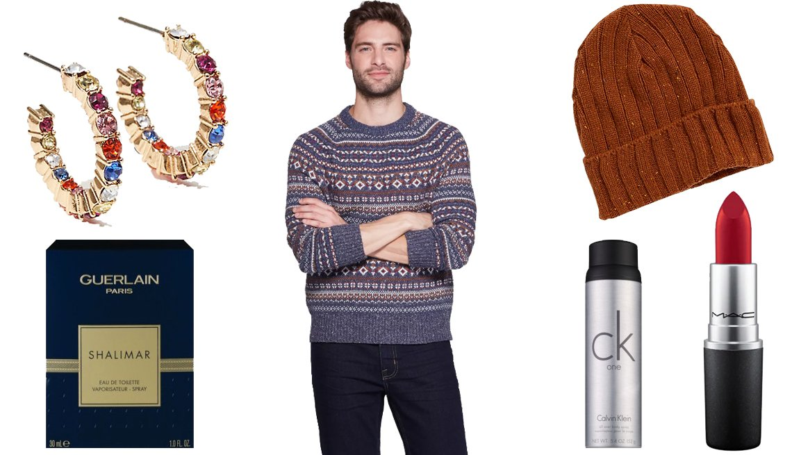 item 5, Gallery image. Loft Crystal Hoop Earrings, Guerlain Paris Shalimar Eau de Toilette Spray, Goodfellow & Co Men's Jacquard Standard Fit Fairisle Holiday Sweater, Old Navy Wide-Rib Roll-Cuff Beanie, MAC Retro Matte Lipstick in Ruby Woo, Calvin Klein One All Over Body Spray