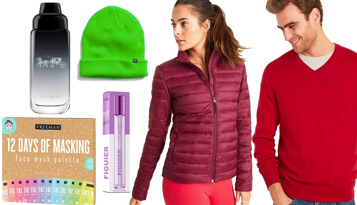 item 12, Gallery image. Gap Double-Knit Beanie, Freeman 12 Days of Masking Palette, Women's Solinotes Fig Blossom Rollerball Perfume, Old Navy Packable Puffer Jacket, Coach For Men Eau de Toilette Travel Spray,  Old Navy Everyday V-Neck Sweater for Men