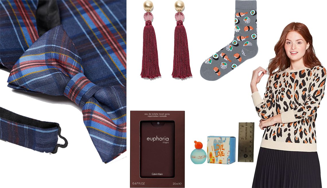 item 6, Gallery image. H&M Bow Tie and Handkerchief, Loft Tassel Earrings, H&M Patterned Socks, A New Day Women's Leopard Print Long Sleeve Crewneck Pullover Sweater, I Love Love by Moschino Eau de Toilette Mini, Calvin Klein Euphoria for Men Pocket Spray