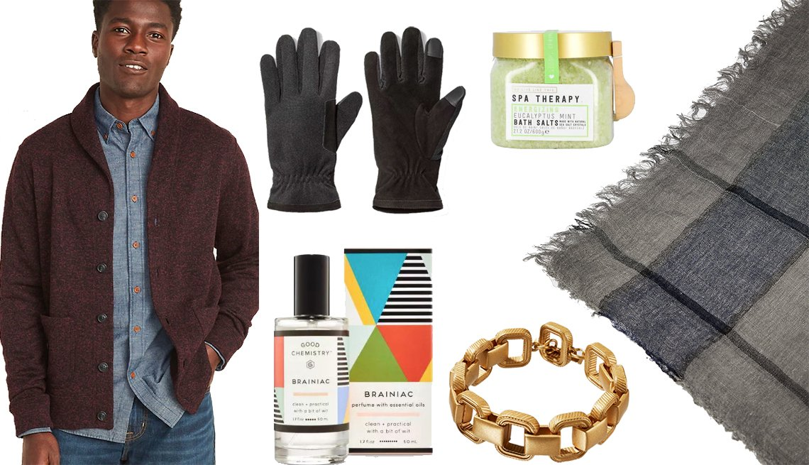 item 12, Gallery image. Old Navy Shawl-Collar Button-Front Sweater-Fleece Cardigan, Goodfellow & Co Men's Thinsulate Lined Tech Touch Gloves, Brainiac by Good Chemistry Eau de Parfum, We Live Like This: Spa Therapy Bath Salts, Zara Limited Edition Square Chain Bracelet, Zara Striped Jacquard Scarf