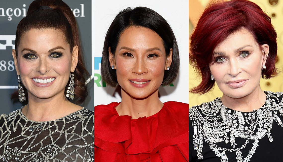 item 2, Gallery image. Debra Messing, Lucy Liu, Sharon Osbourne red hair, defined eye pop of black pencil, nude lip