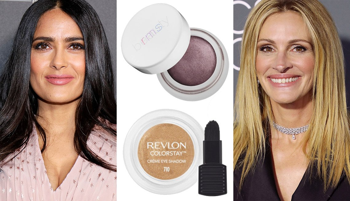 Salma Hayek, Revlon ColorStay Créme Eye Shadow, RMS Beauty Eye Polish, Julia Roberts
