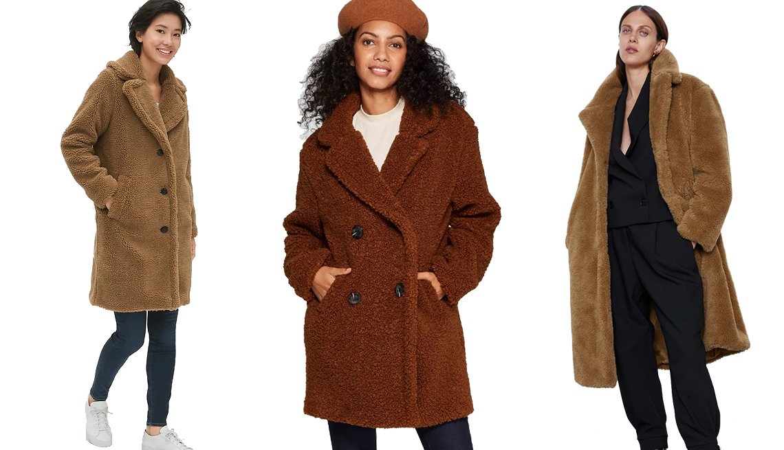 item 4, Gallery image. Gap Teddy Coat in Holiday Cocoa Brown, A New Day Women's Teddy Coat, Zara Long Faux Fur Coat