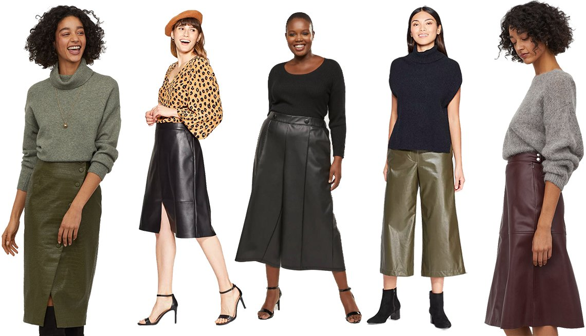 item 9, Gallery image. H&M Crocodile-pattern Pencil Skirt, A New Day Woman's Hi-Rise A-Line Faux Leather Skirt, Lane Bryant  Faux Leather Wide Leg Crop with Button Waist, Prologue Women's Regular Fit Mid-Rise Wide Leg Pants in Olive, H&M A-Line Skirt
