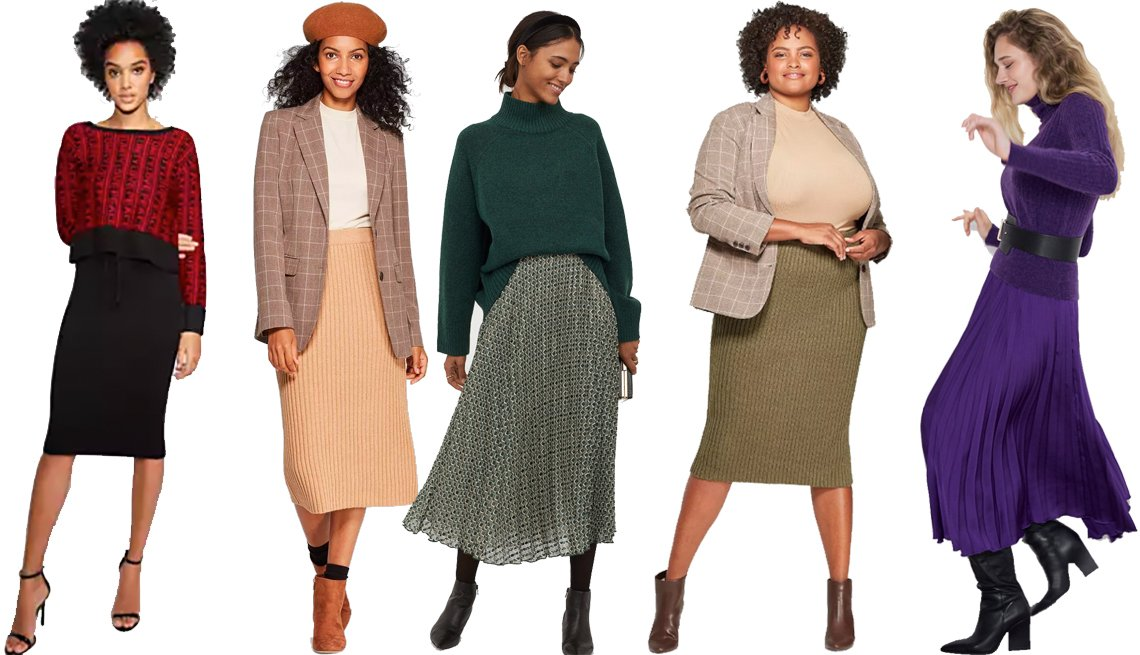 item 2, Gallery image. Gabrielle Union Collection Black Sweater Skirt for New York & Company, A New Day Women's Rib Sweater Skirt, H&M Pleated Skirt, A New Day Women's Plus-Size Midi Rib Knit Sweater Skirt, Zara Pleated Skirt