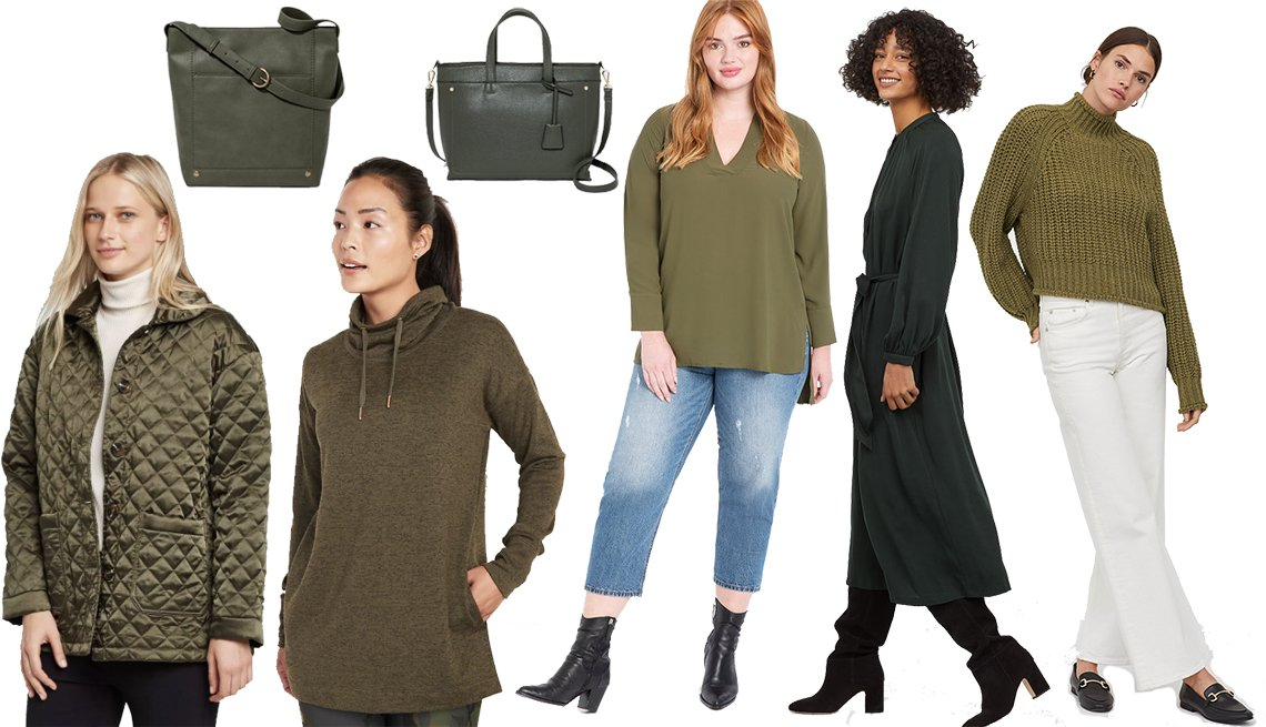 item 1, Gallery image. Who What Wear Women's Quilted Satin jacket, Universal Thread Bucket Hobo handbag, Old Navy Sweater-Knit Mock-Neck Tunic Sweatshirt, A New Day Two Layer Satchel Handbag, Eloquii Easy V Neck Tunic, H&M Dress with Tie Belt, H&M Ribbed Turtleneck Sweater