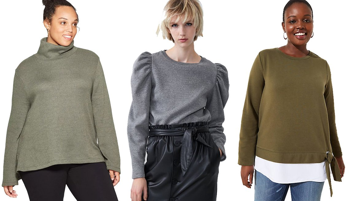 item 8, Gallery image. Ava & Viv Women's Plus-Size Long Sleeve Turtleneck Sweatshirt, Zara Balloon Sleeve Sweatshirt, Loft Plus Tie-Hem Sweatshirt in Olive
