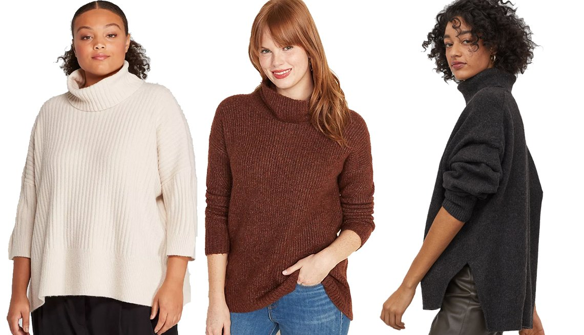 item 3, Gallery image. Prologue Women's Women's Plus-Size, Old Navy Slouchy Textured Sweater for Women in Rust, H&M Knit Turtleneck Sweater