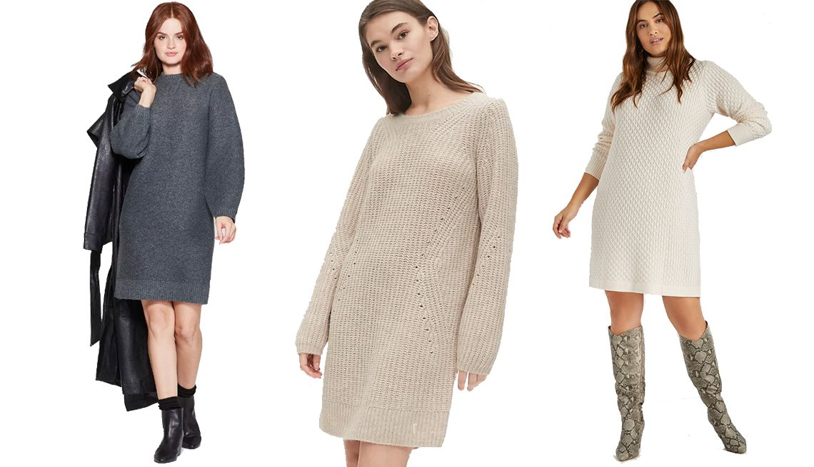 item 7, Gallery image. Prologue Women's Long Sleeve Crewneck Sweater Dress, Gap Pointelle Crewneck Sweater Dress, Eloquii Honeycomb Turtleneck Sweater Dress