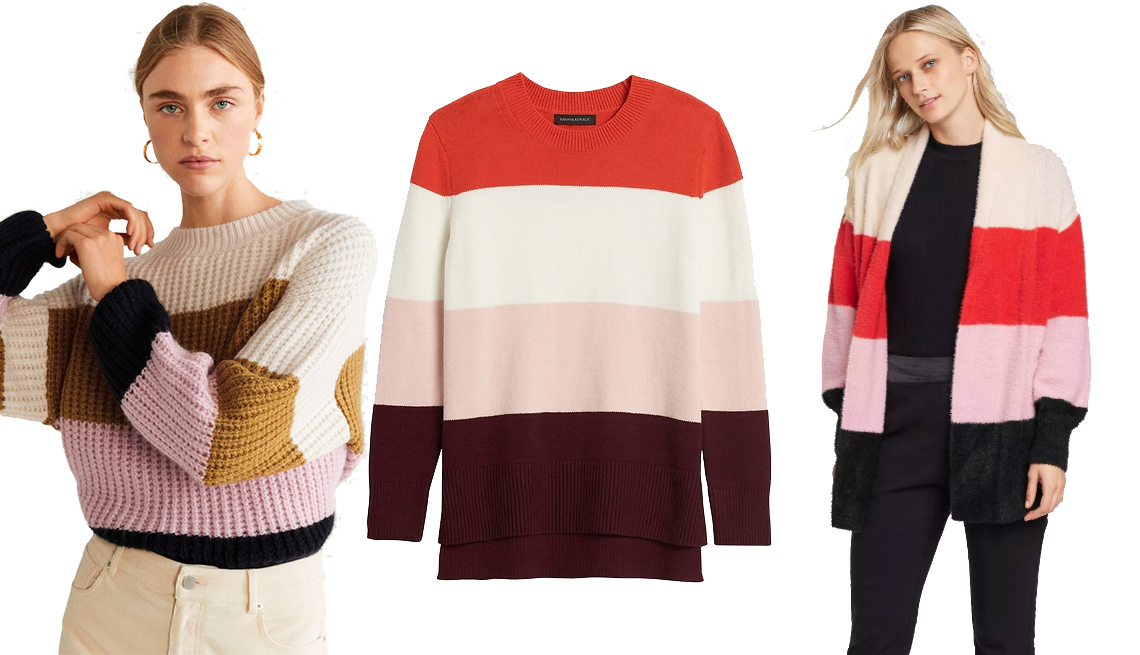 item 1 of Gallery image - Mango Color Block Sweater, Super Soft Cotton Hi-Low Hem Sweater, Women's Striped Long Sleeve Fuzzy Cardigan - Who What Wear