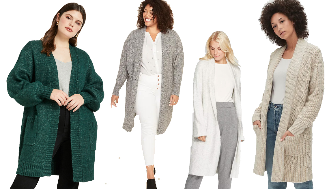 item 3 of Gallery image - Eloquii Boyfriend Cardigan,  Old Navy Plus-Size Super-Long Open-Front Sweater, A New Day Women's Long Sleeve Open Front Duster Sweater, Gap Ribbed Coat Cardigan Sweater
