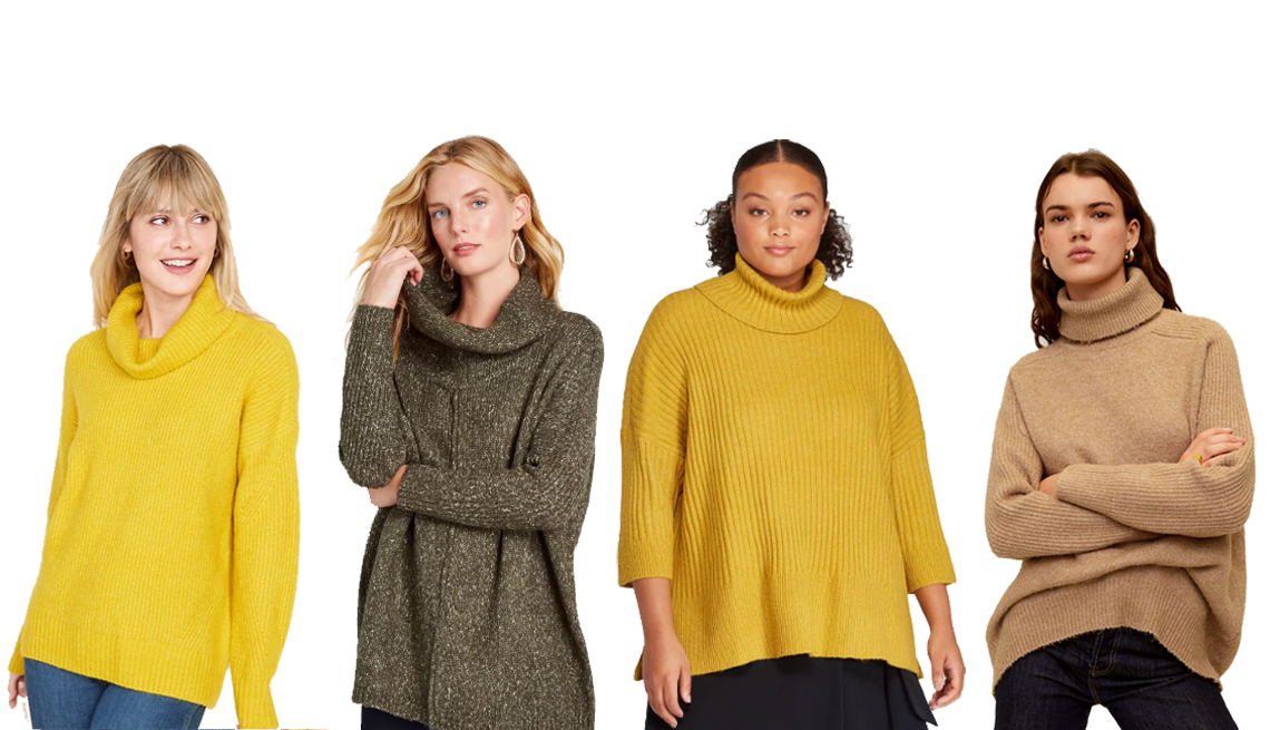 item 2 of Gallery image - Old Navy Slouchy Turtleneck Sweater for Women, Modcloth On The Warm Side Cowlneck Sweater, Prologue Plus-Size 3/4 Sleeve Turtleneck Pullover Sweater, Mango Turtle neck Oversized Sweater