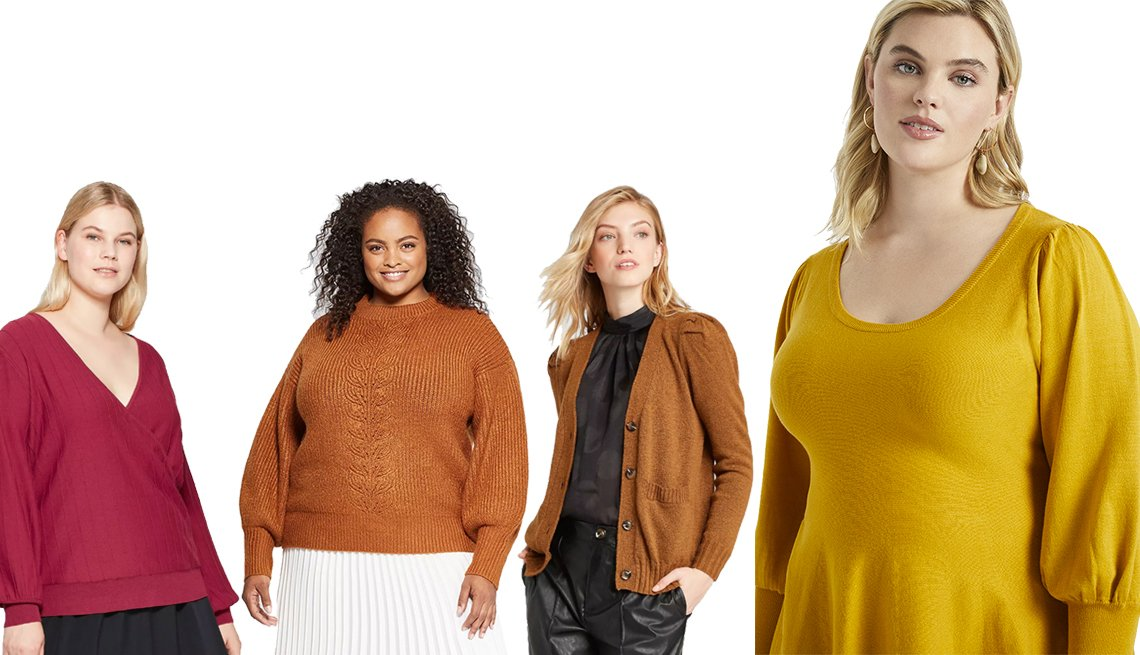 item 7, Gallery image. Prologue Women's Plus Size Long Sleeve V-Neck Wrap Pullover Sweater, Ava & Viv Plus-Size Turtleneck Pullover Sweater, Women's Puff Long Sleeve Cardigan - Who What Wear, Eloquii Puff Sleeve Peplum Sweater
