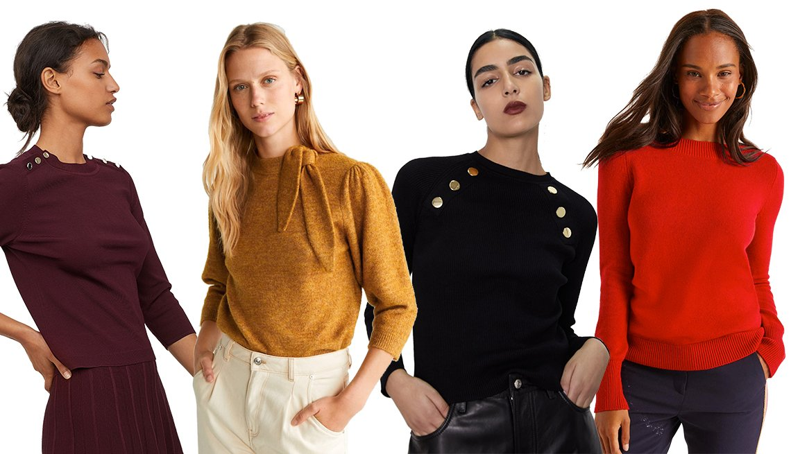 item 9, Gallery image. H & M Ribbed Sweater, Mango Bow Knit Sweater, Zara Ribbed Sweater with Buttons, Boden Peggy Sweater