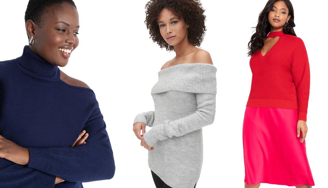 item 5 of Gallery image - Eloquii Cold Shoulder Sweater, Gap Off-Shoulder Sweater, Eloquii Cutout necklace Sweater