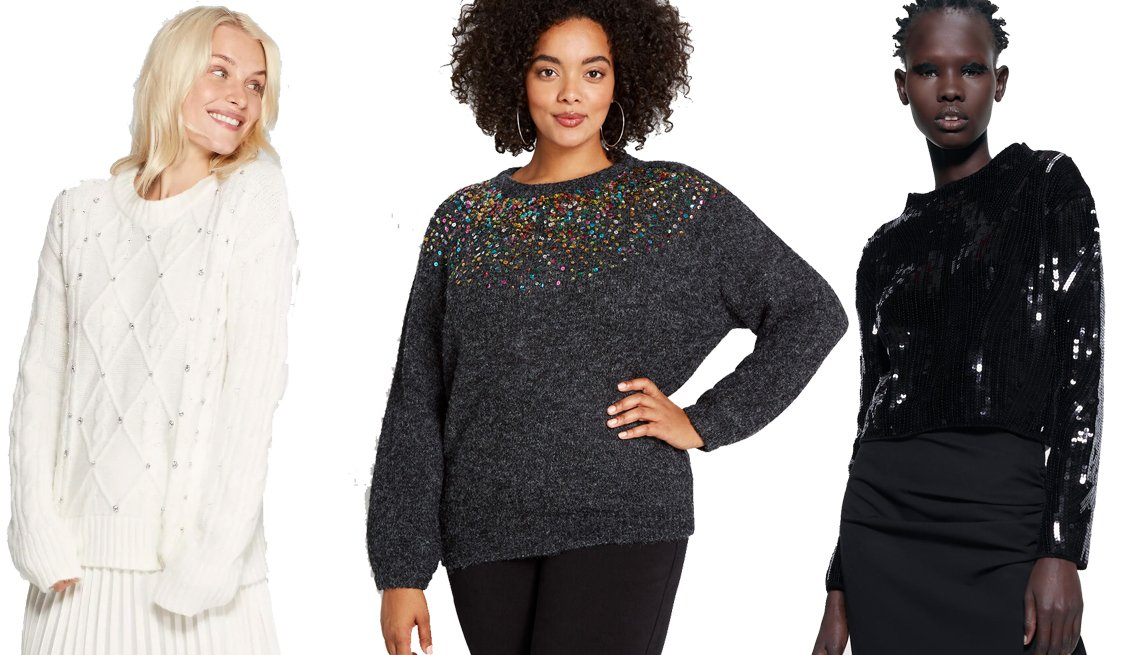 item 4, Gallery image. A New Day Long Sleeve Crewneck Embellished Pullover Sweater, Modcloth Ready for Confetti Sequin Sweater, Zara Sequin Chenille Sweater