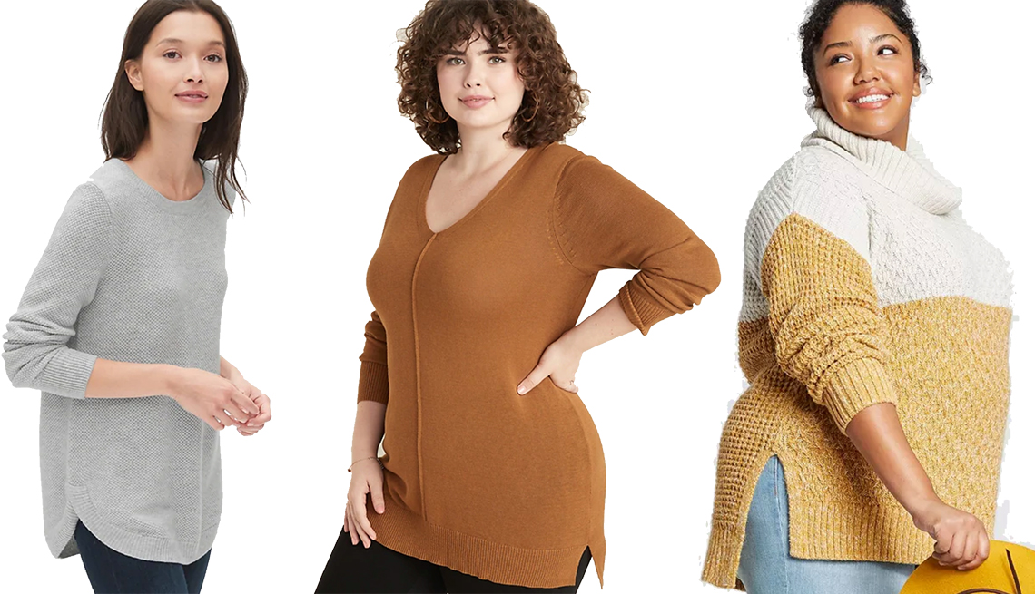 item 11 of Gallery image - Gap True Soft Textured Crewneck Tunic Sweater, Universal Thread Plus Size Long Sleeve Turtleneck Color Block Tunic Sweater, Universal Thread Plus Size Long Sleeve Turtleneck Color Block Tunic Sweater