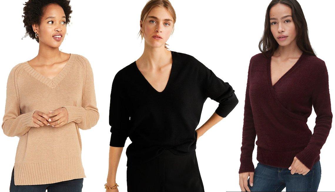 item 8, Gallery image. Old Navy Rib-Knit V-Neck Sweater for Women, Mango V-neckline sweater, Gap Wrap V-Neck Sweater