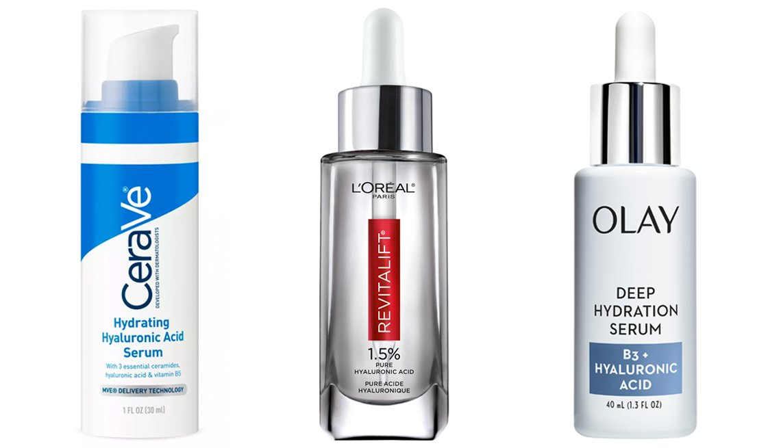 item 4, Gallery image. CeraVe Hydrating Hyaluronic Acid Face Serum for Normal to Dry Skin (left), L'Oreal Paris Revitalift Derm Intensives Hyaluronic Acid Face Serum (middle) and Olay Deep Hydration Serum with Vitamin B3+ Hyaluronic Acid