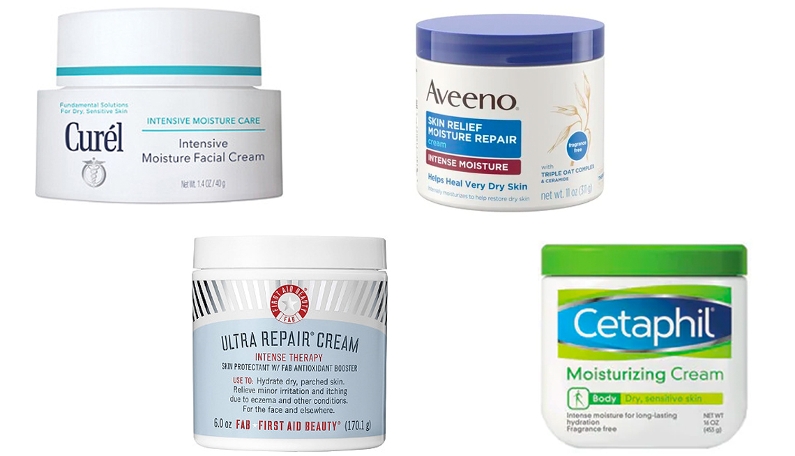 item 5 of Gallery image - A side by side image of Curel Intensive Moisture Facial Cream Aveeno Skin Relief Moisture Repair Cream First Aid Beauty Ultra Repair Cream and Cetaphil Moisturizing Body Cream