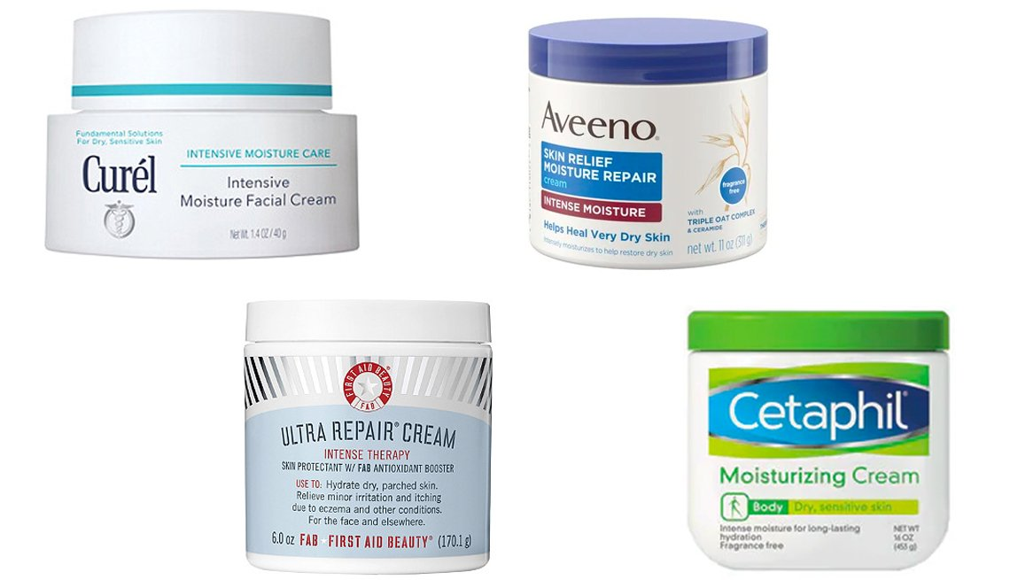 item 5, Gallery image. Curél Intensive Moisture Facial Cream (top left), Aveeno Skin Relief Moisture Repair Cream (top right), First Aid Beauty Ultra Repair Cream (bottom left) and Cetaphil Moisturizing Body Cream for Dry, Sensitive Skin