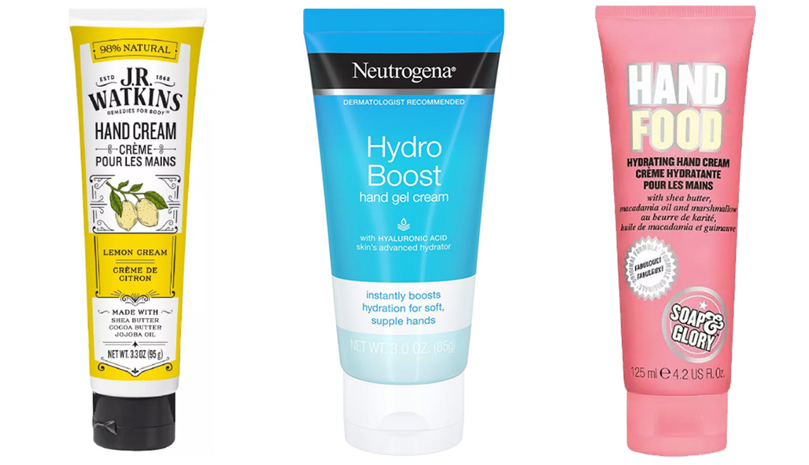 item 8 of Gallery image - J R Watkins Naturals Shea Butter Hand Cream Neutrogena Hydro Boost Gel Hand Cream and Soap and Glory Hand Food Hand Cream all next to each other