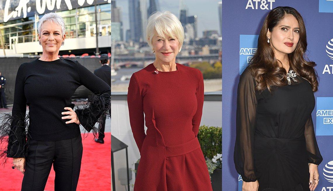 item 3, Gallery image. Jamie Lee Curtis (left), Helen Mirren (center) and Salma Hayek