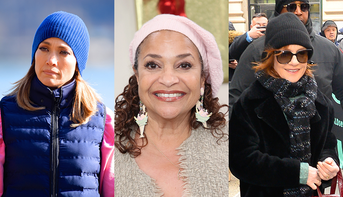 item 1 of Gallery image - Actresses Jennifer Lopez Debbie Allen and Isabelle Huppert wearing knit hats in a side-by-side photo