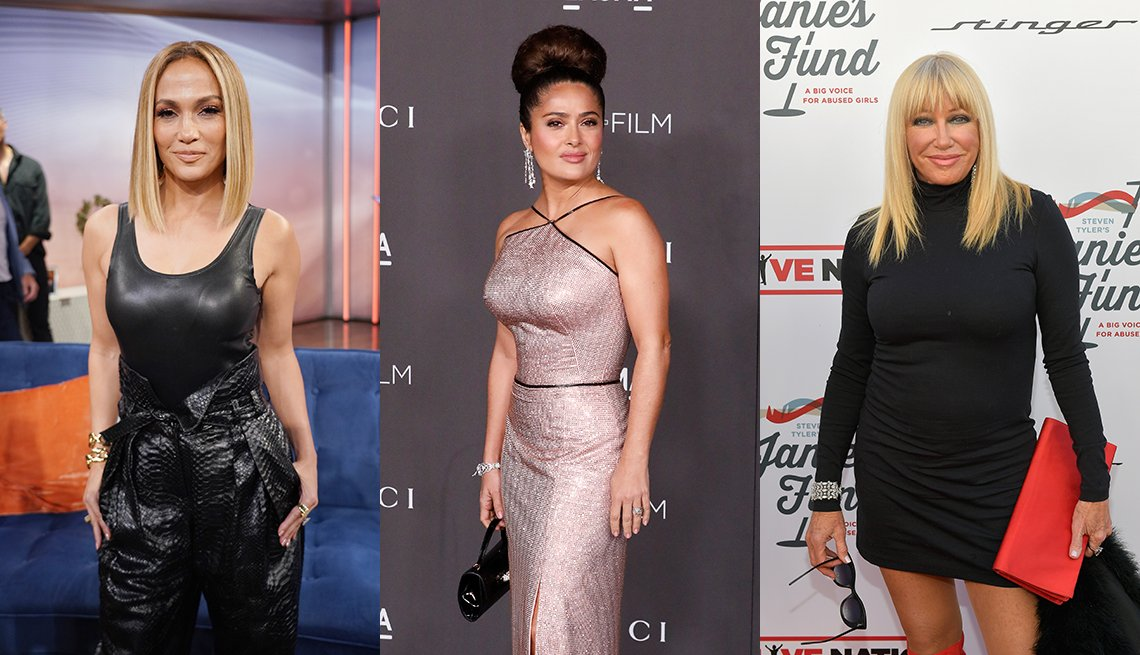 item 1, Gallery image. Jennifer Lopez, Salma Hayek and Suzanne Somers