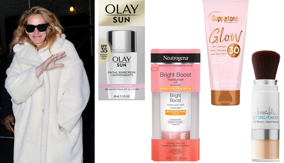item 10, Gallery image. Actress Julia Roberts, Olay Sun Face Sunscreen + Makeup Primer SPF 35, Neutrogena Bright Boost Moisturizer SPF 30, Coppertone Glow With Shimmer Sunscreen Lotion, SUPERGOOP! Invincible Setting Powder SPF 45