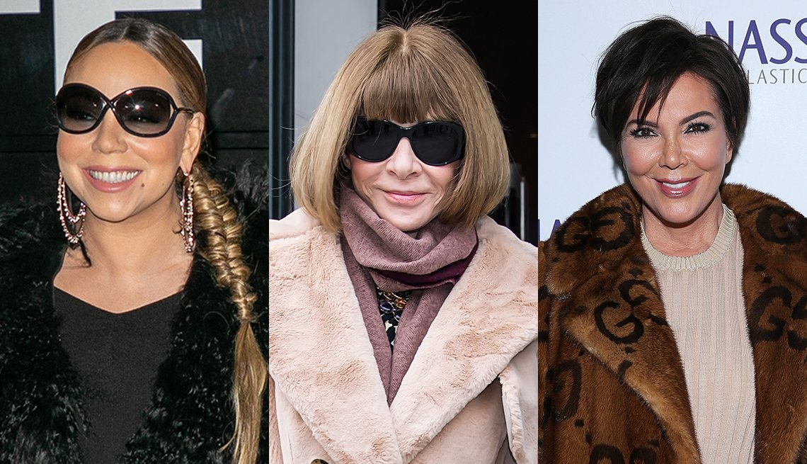 item 2, Gallery image. Singer Mariah Carey (left), journalist and editor Anna Wintour (middle) and television personality and businesswoman Kris Jenner