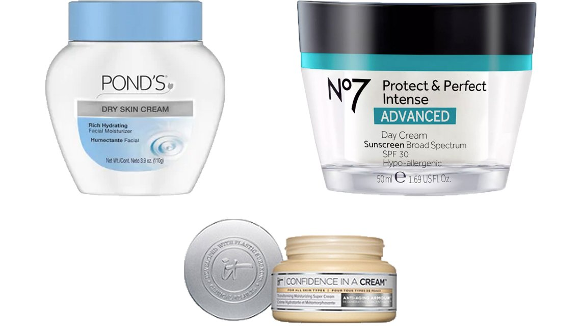 item 3, Gallery image. Pond's Dry Skin Cream (top left), No7 Protect & Perfect Intense Advanced Day Cream SPF 30 (top right) and It Cosmetics Confidence In A Cream Hydrating Moisturizer