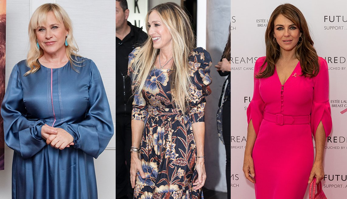 item 10, Gallery image. Patricia Arquette (left), Sarah Jessica Parker (center) and Elizabeth Hurley