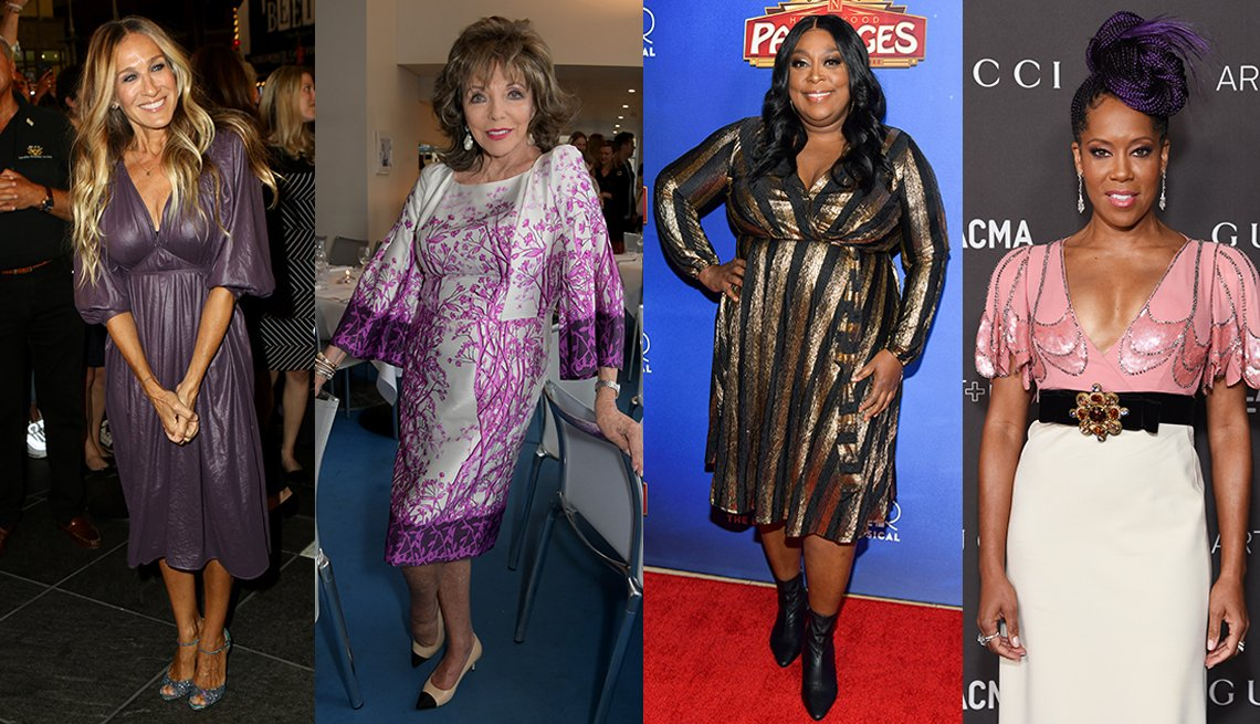item 5, Gallery image. Sarah Jessica Parker (left), Joan Collins (middle left), Loni Love (middle right) and Regina King