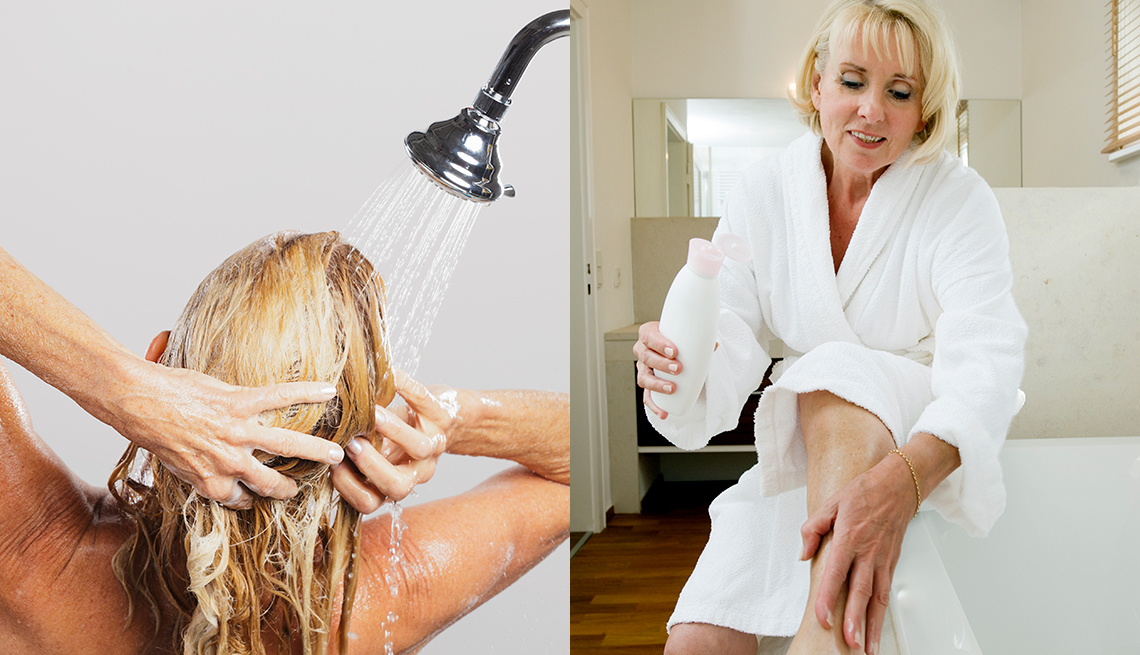 item 6 of Gallery image - A side by side image of a woman washing her hair in the shower and another woman applying body lotion to her leg