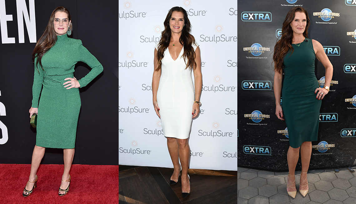 item 7 of Gallery image - Three images of actress Brooke Shields wearing a green knee length sheath dress with long sleeves wearing a white v neck cap sleeve sheath dress and wearing a dark green sheath dress