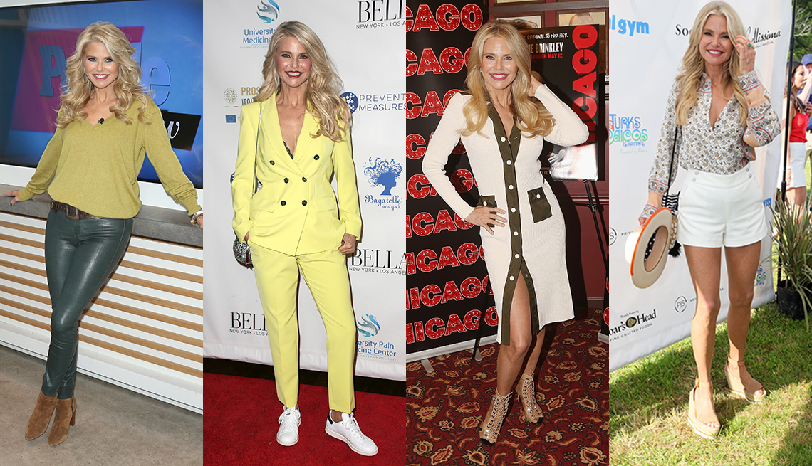 item 8 of Gallery image - Four photos of Christie Brinkley wearing a V neck cashmere sweater with forest green leather pants wearing a butter yellow pantsuit wearing a V neck button front sweater dress and wearing a print blouse with white short shorts