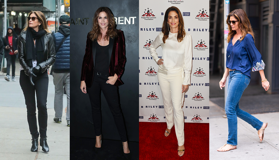 item 6 of Gallery image - Four images of Cindy Crawford wearing a black leather biker jacket with black jeans wearing a burgundy velvet blazer with black tank and black skinny ankle jeans wearing a white silk blouse and white slim pants and wearing a blue blouse with blue jeans