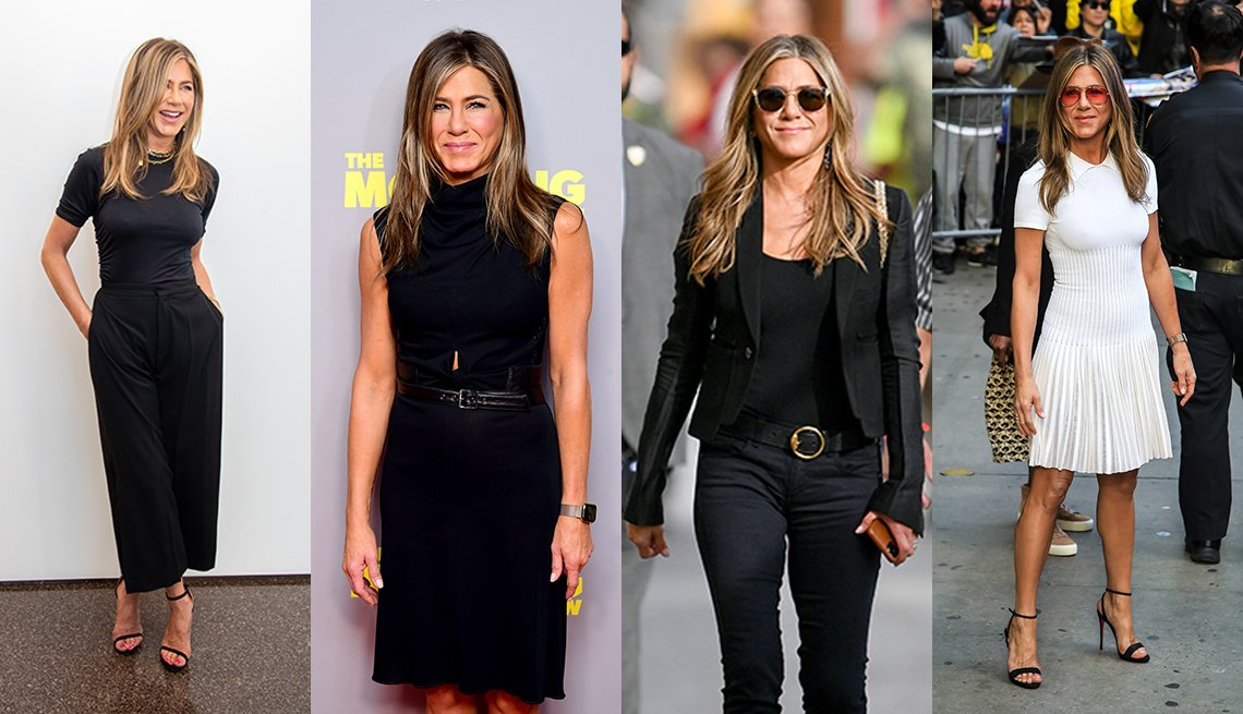 item 4 of Gallery image - Four photos of Jennifer Aniston wearing a black sleeveless belted cowl neck dress wearing a black tee with black ankle cropped wide pants wearing black skinny jeans with a tank top and tailored cropped jacket and wearing a white knit pleated day dress