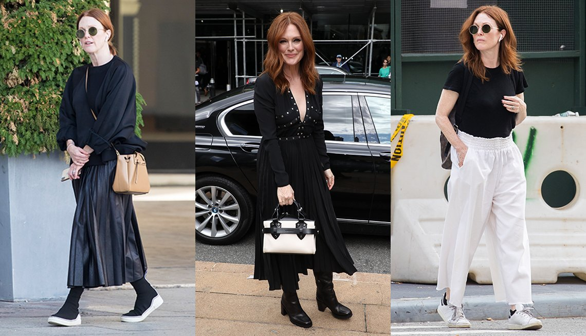 item 5 of Gallery image - Three images side by side of Julianne Moore wearing a black slouchy sweater with a pleated midi skirt wearing a black pleated midi dress with black leather boots and wearing a black t shirt with white wide leg ankle pants