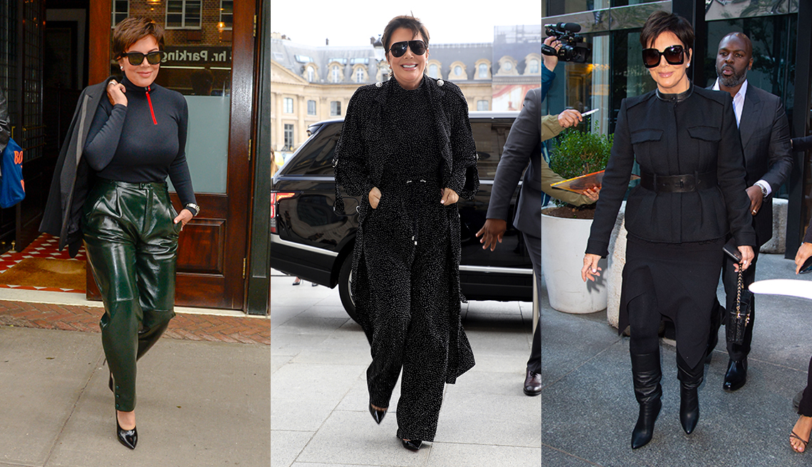 item 10 of Gallery image - Three images side by side showing Kris Jenner wearing green leather pants a black turtleneck with a blazer over her shoulder wearing black print pants a top and a trench coat and wearing a black belted military style jacket with an asymmetric skirt